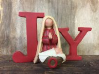 JOY Red Contemporary Religious Ornament with Mary and Baby Jesus